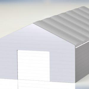 Ściany z płyty warstwowej, podwójna plandeka pompowana na dachu